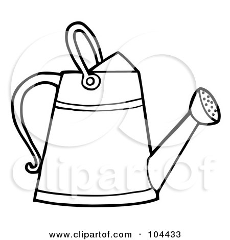 Royalty-Free (RF) Clipart Illustration of a Coloring Page Outline Of A Gardening Watering Can by Hit Toon