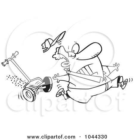 Royalty-Free (RF) Clip Art Illustration of a Cartoon Black And White Outline Design Of A Man Running From A Lawn Mower by toonaday