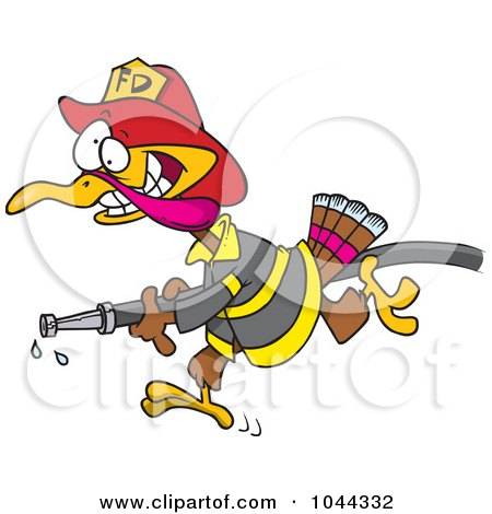Royalty-Free (RF) Clip Art Illustration of a Cartoon Fire Fighter Turkey Carrying A Hose by toonaday