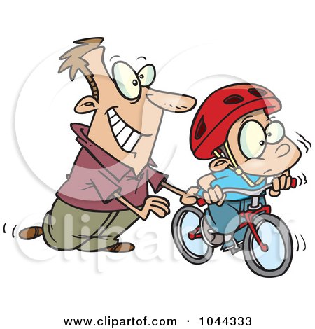Royalty-Free (RF) Clip Art Illustration of a Cartoon Father Teaching His Boy To Ride A Bike by toonaday