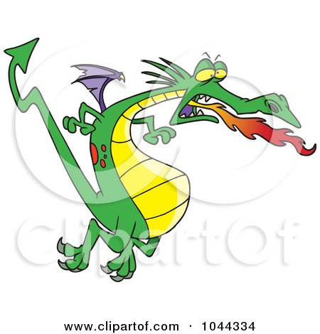Royalty-Free (RF) Clip Art Illustration of a Cartoon Fire Breathing Dragon In Flight by toonaday