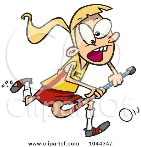 Royalty-Free (RF) Clip Art Illustration of a Cartoon Girl Playing Field Hockey by toonaday