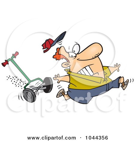 Royalty-Free (RF) Clip Art Illustration of a Cartoon Man Running From A Lawn Mower by toonaday