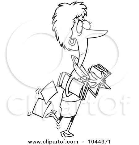Royalty-Free (RF) Clip Art Illustration of a Cartoon Black And White Outline Design Of A Businesswoman Carrying And Dropping Files by toonaday