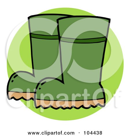 Royalty-Free (RF) Clipart Illustration of a Pair Of Green Gardeners Rubber Boots by Hit Toon
