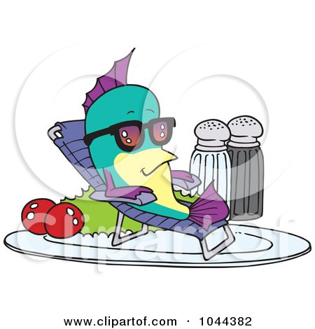 Royalty-Free (RF) Clip Art Illustration of a Cartoon Fish Relaxing On A Plate by toonaday