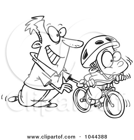 Royalty-Free (RF) Clip Art Illustration of a Cartoon Black And White Outline Design Of A Father Teaching His Boy To Ride A Bike by toonaday