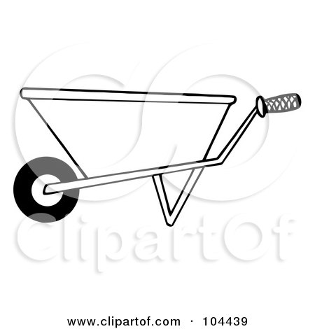 Royalty-Free (RF) Clipart Illustration of a Coloring Page Outline Of A Gardening Wheel Barrow by Hit Toon