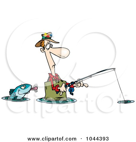 Royalty-Free (RF) Clip Art Illustration of a Cartoon Fish Sticking His Tongue Out At A Wading Fisherman by toonaday