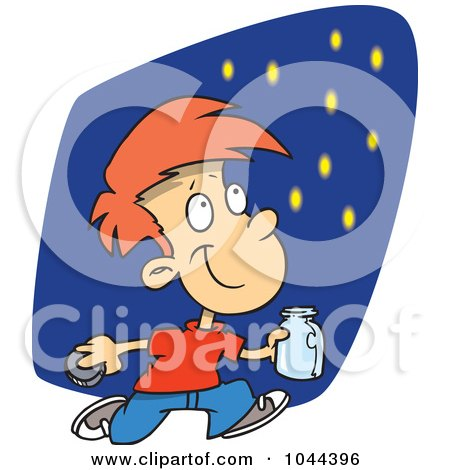 Royalty-Free (RF) Clip Art Illustration of a Cartoon Boy Catching Fire Flies by toonaday