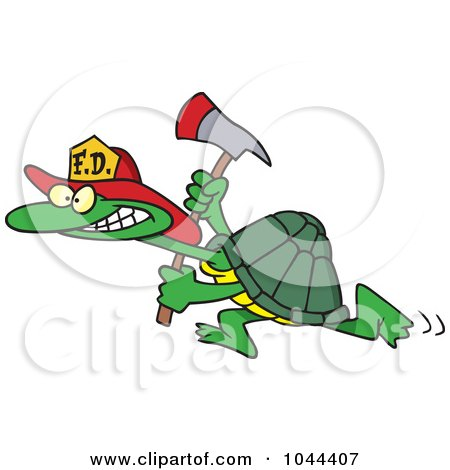 Royalty-Free (RF) Clip Art Illustration of a Cartoon Fire Fighter Tortoise Carrying An Axe by toonaday