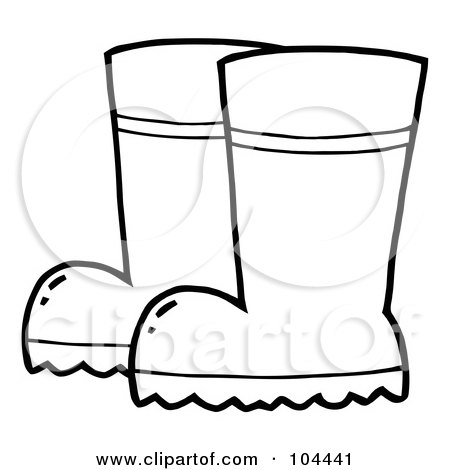 Royalty-Free (RF) Clipart Illustration of a Coloring Page Outline Of A Pair Of Gardening Rubber Boots by Hit Toon