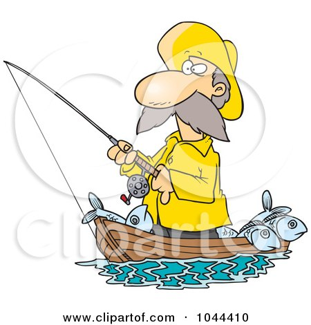 Royalty-Free (RF) Clip Art Illustration of a Cartoon Fisherman Standing In His Boat by toonaday