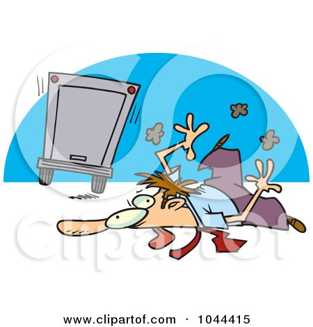 Royalty-Free (RF) Clip Art Illustration of a Cartoon Flattened Businessman Hit By A Big Rig by toonaday