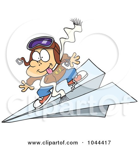 Royalty-Free (RF) Clip Art Illustration of a Cartoon Pilot Boy Flying On A Paper Plane by toonaday