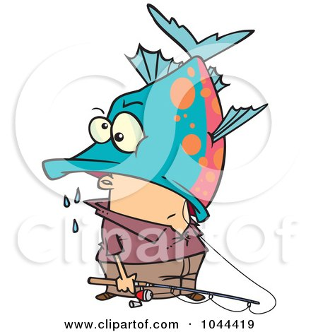 Royalty-Free (RF) Clip Art Illustration of a Cartoon Fisherman Inside A Big Fish's Mouth by toonaday