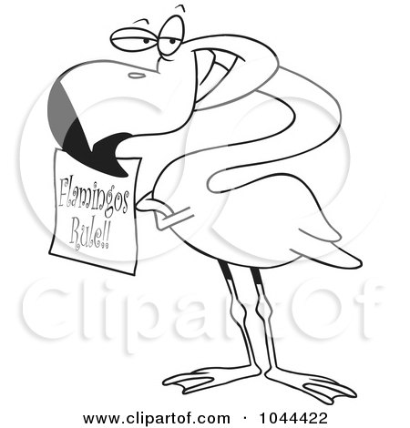 Royalty-Free (RF) Clip Art Illustration of a Cartoon Black And White Outline Design Of A Flamingo Holding A Flamingos Rule Sign by toonaday