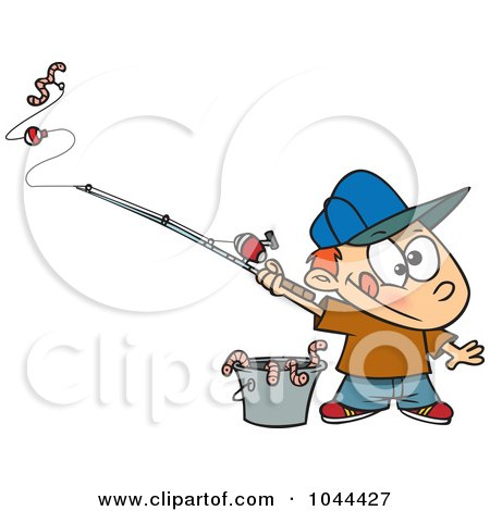Royalty-Free (RF) Clip Art Illustration of a Cartoon Fishing Boy With A Bucket Of Worms by toonaday