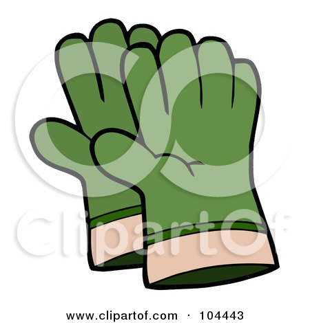 Royalty-Free (RF) Clipart Illustration of a Pair Of Green Gardening Hand Gloves by Hit Toon