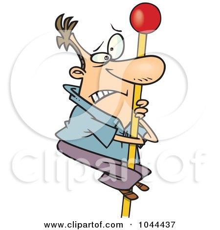 Royalty-Free (RF) Clip Art Illustration of a Cartoon Man Climbing A Flag Pole by toonaday