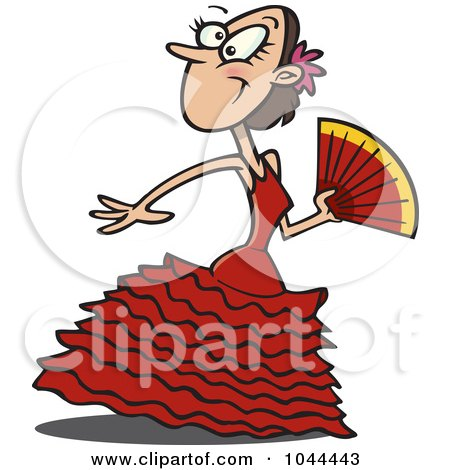 Royalty-Free (RF) Clip Art Illustration of a Cartoon Beautiful Flamenco Dancer by toonaday