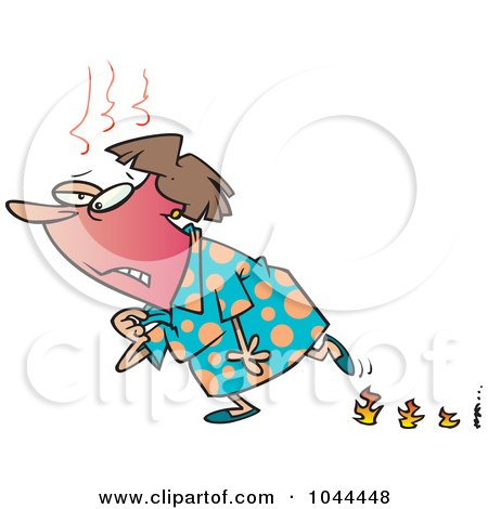 Royalty-Free (RF) Clip Art Illustration of a Cartoon Woman Experiencing Hot Flashes And Leaving Flame Steps by toonaday