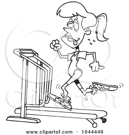 Royalty-Free (RF) Clip Art Illustration of a Cartoon Black And White Outline Design Of A Sweaty Woman Running On A Treadmill by toonaday