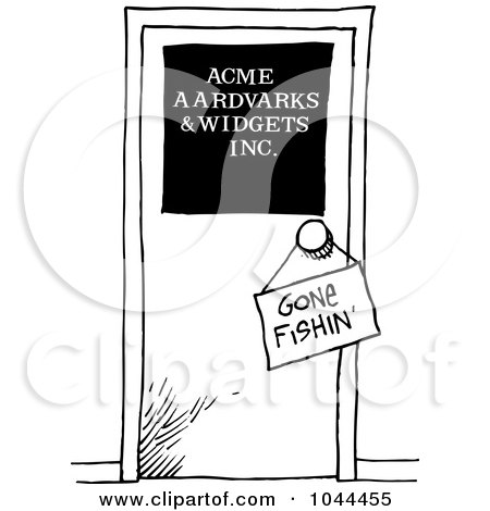 Royalty-Free (RF) Clip Art Illustration of a Cartoon Black And White Outline Design Of A Gone Fishing Sign On A Door by toonaday