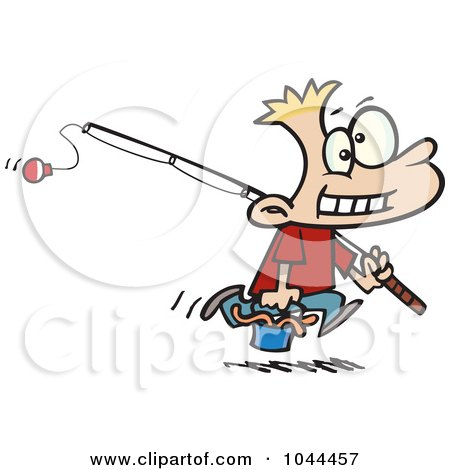 Royalty-Free (RF) Clip Art Illustration of a Cartoon Fishing Boy Carrying A Bucket Of Worms by toonaday