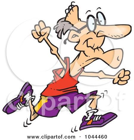 Cartoon Fit Senior Man Running Posters, Art Prints