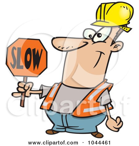 Royalty-Free (RF) Clip Art Illustration of a Cartoon Construction Worker Slowing Down Traffic by toonaday