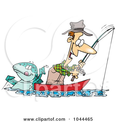 Royalty-Free (RF) Clip Art Illustration of a Cartoon Fish Tugging On A Mans Line by toonaday