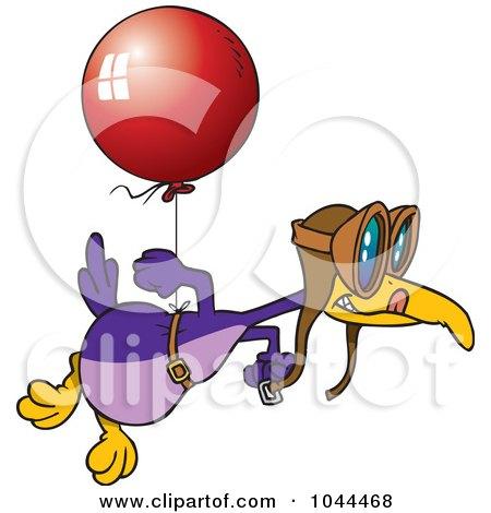 Royalty-Free (RF) Clip Art Illustration of a Cartoon Flightless Bird Tied To A Balloon by toonaday