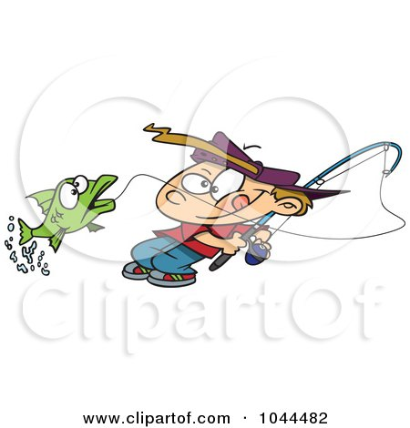 Royalty-Free (RF) Clip Art Illustration of a Cartoon Fishing Boy Reeling In A Fish by toonaday
