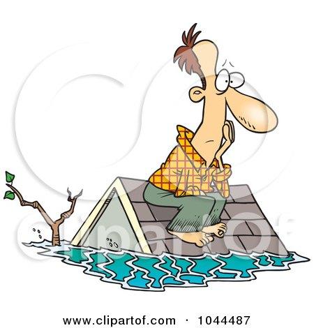Royalty-Free (RF) Clip Art Illustration of a Cartoon Flood Survivor Sittin On His Roof by toonaday