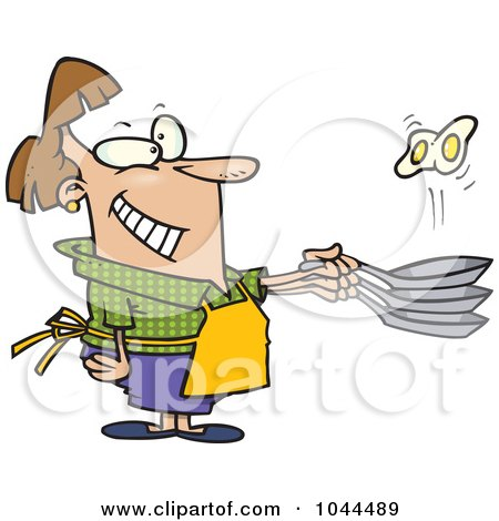 Royalty-Free (RF) Clip Art Illustration of a Cartoon Woman Flipping Eggs In A Frying Pan by toonaday