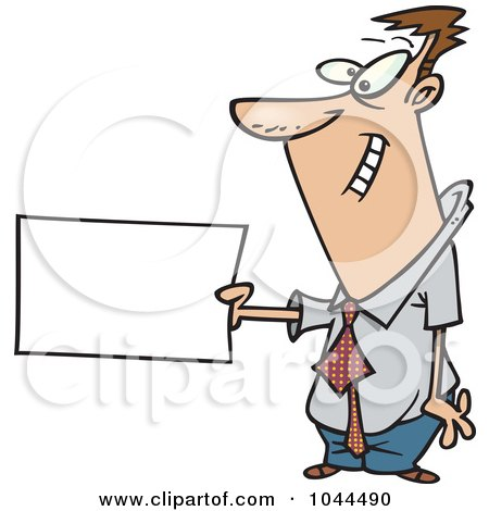 Royalty-Free (RF) Clip Art Illustration of a Cartoon Businessman Holding Out A Flash Card by toonaday