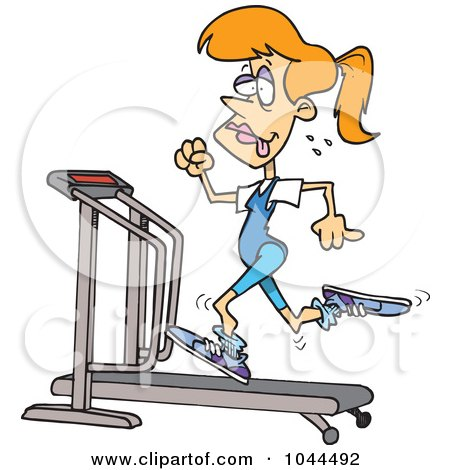 Royalty-free clipart picture of a sweaty woman running on a treadmill,