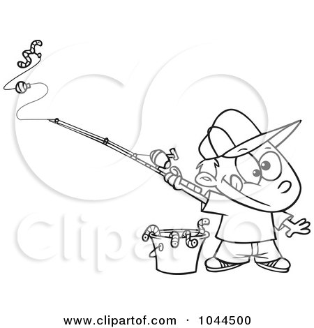 Royalty-Free (RF) Clip Art Illustration of a Cartoon Black And White Outline Design Of A Fishing Boy With A Bucket Of Worms by toonaday