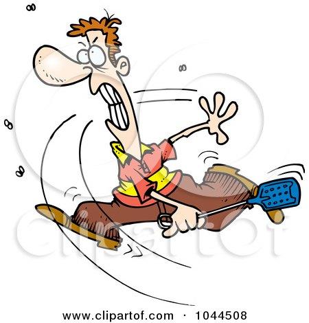 Royalty-Free (RF) Clip Art Illustration of a Cartoon Man Swatting At Flies by toonaday