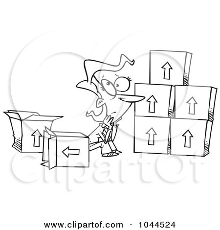 Royalty-Free (RF) Clip Art Illustration of a Cartoon Black And White Outline Design Of A Sad Woman Sitting By Moving Boxes by toonaday