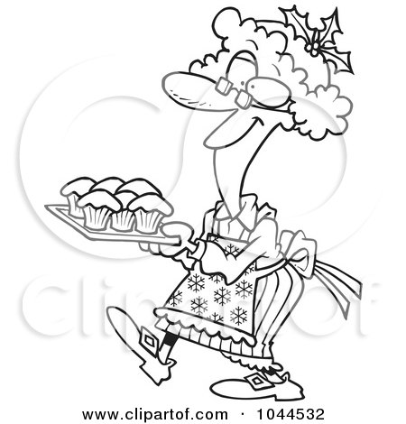 Royalty-Free (RF) Clip Art Illustration of a Cartoon Black And White Outline Design Of A Mrs Claus Baking Cupcakes by toonaday