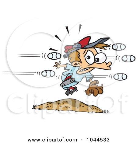 Royalty-Free (RF) Clip Art Illustration of Cartoon Baseballs Flying At A Little Boy by toonaday