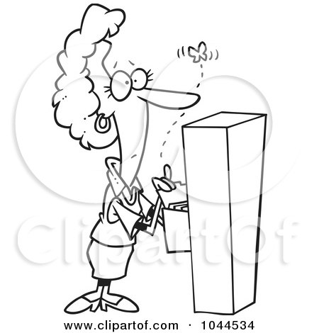 Royalty-Free (RF) Clip Art Illustration of a Cartoon Black And White Outline Design Of A Businesswoman Watching A Moth Emerge From A Filing Cabinet by toonaday
