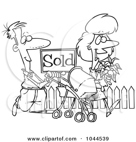 Royalty-Free (RF) Clip Art Illustration of a Cartoon Black And White Outline Design Of Welcoming Neighbors By A Sold House by toonaday