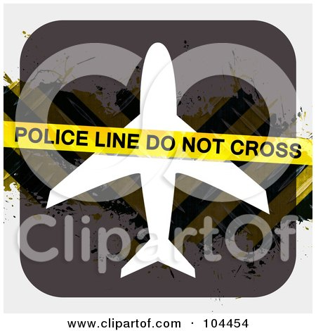 Royalty-Free (RF) Clipart Illustration of Police Tape Over An Airplane Sign With Hazard Stripes by Arena Creative