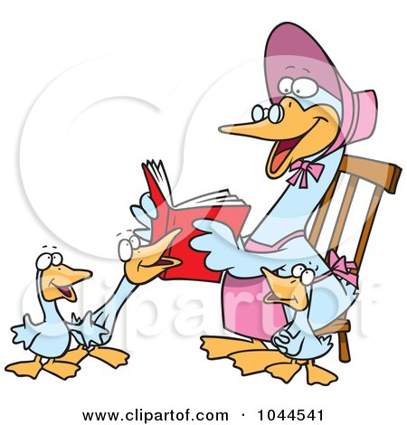 Royalty-Free (RF) Clip Art Illustration of a Cartoon Mother Goose Reading To Goslings by toonaday