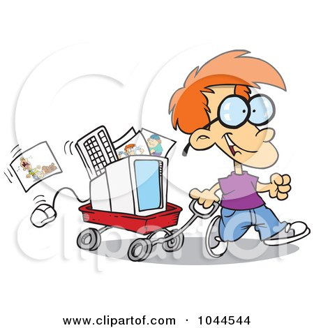 Royalty-Free (RF) Clip Art Illustration of a Cartoon Geeky Boy Moving His Computer In A Wagon by toonaday
