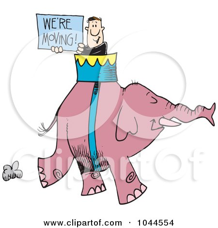 Royalty-Free (RF) Clip Art Illustration of a Cartoon Man Carrying A We're Moving Sign On An Elephant by toonaday
