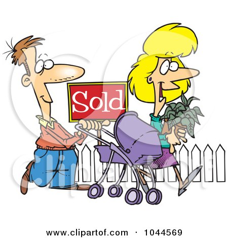 Royalty-Free (RF) Clip Art Illustration of Cartoon Welcoming Neighbors By A Sold House by toonaday